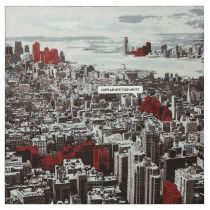 "Tableau ""Manhattan Comics"" 100x100cm Gris"