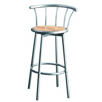 "Tabouret de Bar ""Danp"" 101cm Argent & Naturel"
