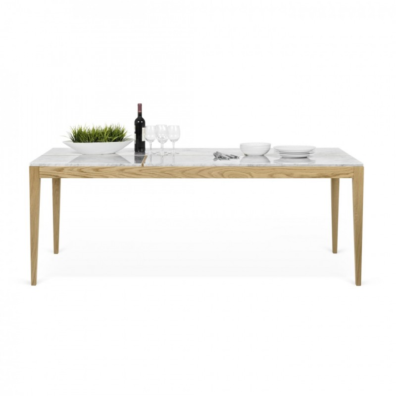 Temahome table de repas utile 201cm ch ne marbre blanc for Table de repas design