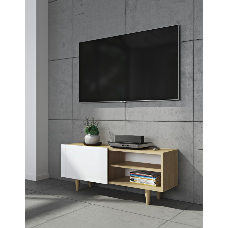 temahome meuble tv design cruz 120cm blanc mat ch ne. Black Bedroom Furniture Sets. Home Design Ideas