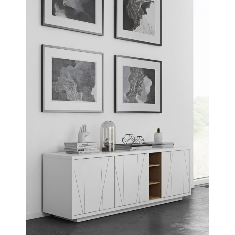temahome buffet 3 portes niche blanc mat grav ch ne. Black Bedroom Furniture Sets. Home Design Ideas