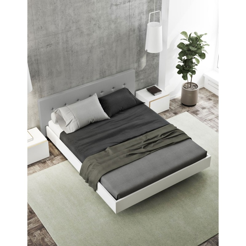 temahome lit suspendu blanc mat float 160x200cm t te de lit gris. Black Bedroom Furniture Sets. Home Design Ideas
