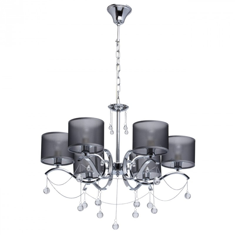 Lustre suspension contemporain tino 76cm argent for Lustre ou suspension