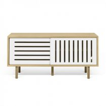 "Temahome - Meuble TV Design ""Dann Stripes"" 135cm Chêne & Blanc"