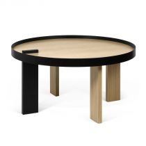 "Temahome - Table d'Appoint ""Bruno"" 80cm Chêne & Noir"