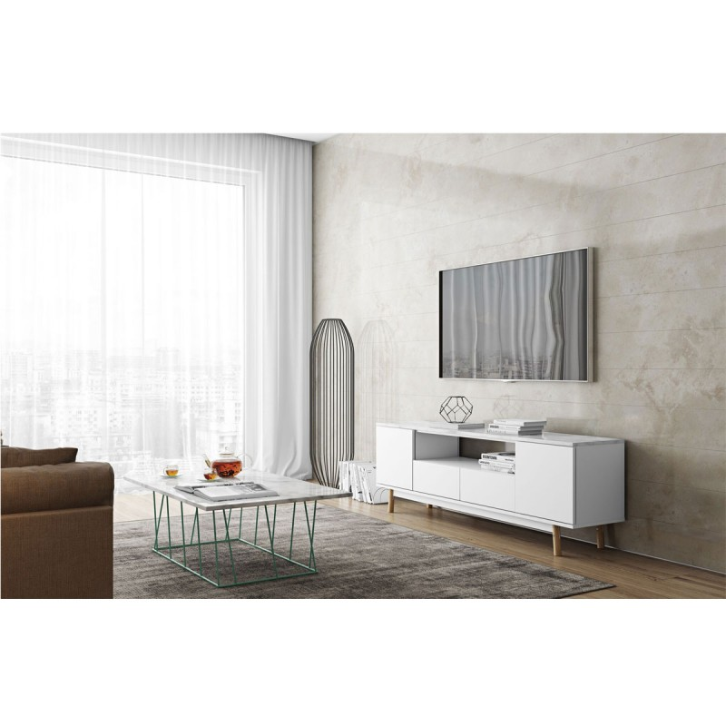 temahome meuble tv design lyon 185cm marbre blanc ch ne. Black Bedroom Furniture Sets. Home Design Ideas