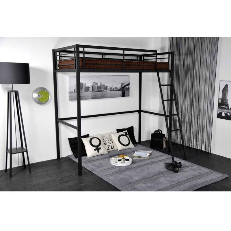 lit mezzanine citty 90x190cm gris anthracite. Black Bedroom Furniture Sets. Home Design Ideas