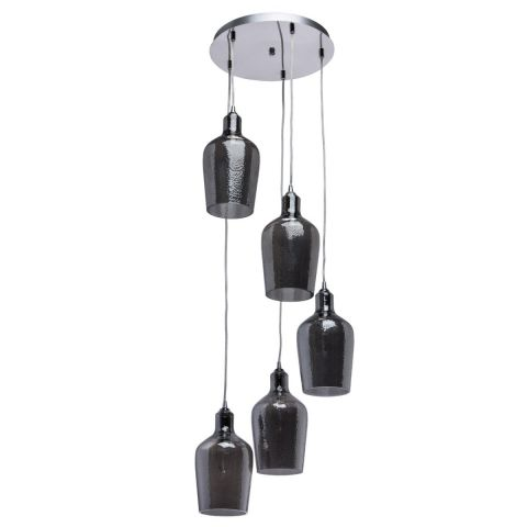 lampe suspension 5 t tes r mus 130cm noir. Black Bedroom Furniture Sets. Home Design Ideas