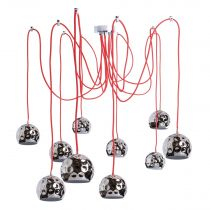 "Lampe Suspension 10 Boules ""Ocha"" 200cm Noir & Rouge"