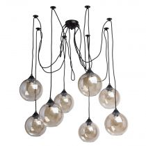 "Lampe Suspension Verre ""Pongo"" 225cm Transparent"