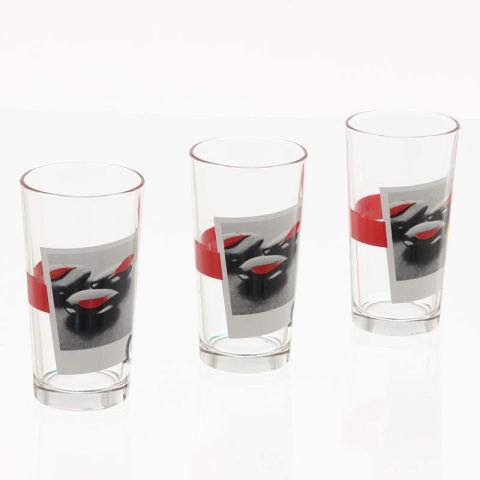 Lot de 3 Verres Zen Rouge