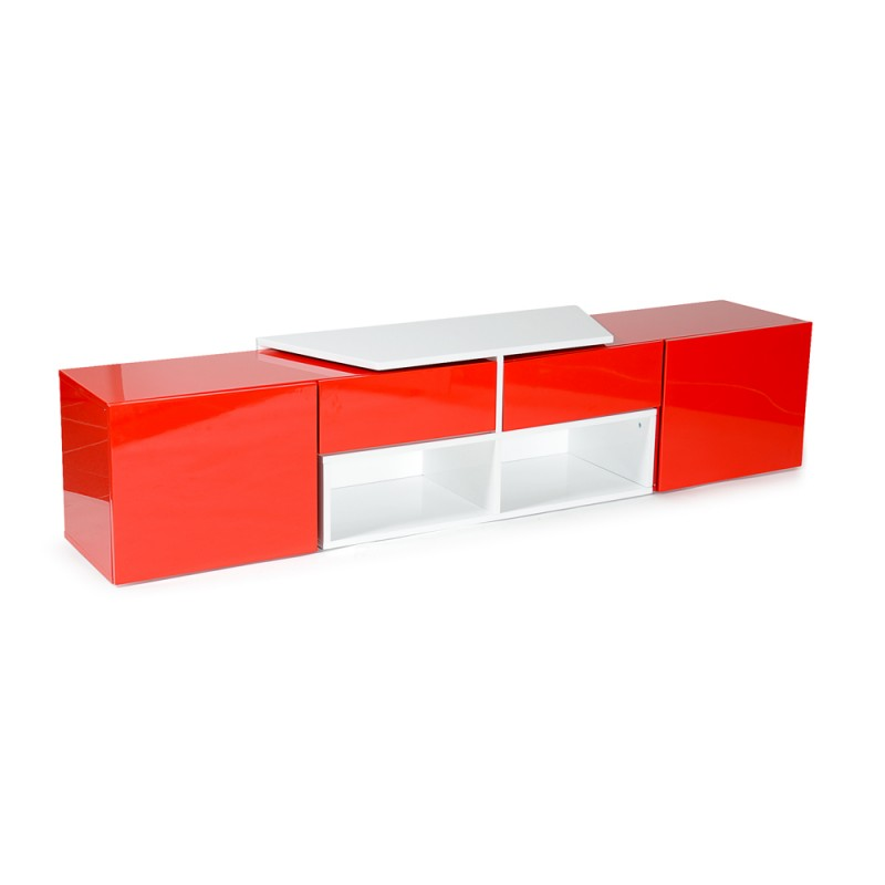 Meuble tv design bunt 205cm blanc rouge for Meuble tv rouge