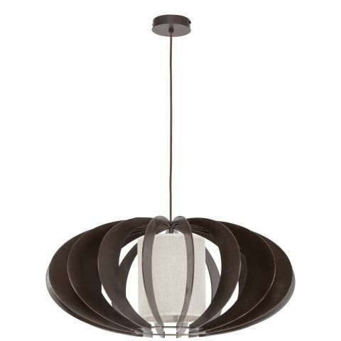 Lampe suspension bois keiko 60cm weng for Lampe suspension bois