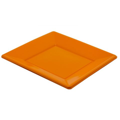 8 Assiettes en plastique Orange 23x23cm
