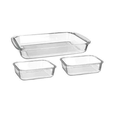 Lot de 3 Plats à Four Rectangulaire en Verre PM Transparent