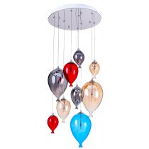 "Lampe Suspension Verre 9 Têtes ""Balloon"" 40cm Multicolore"