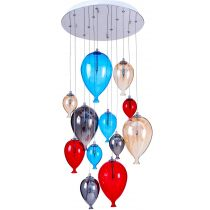 "Lampe Suspension Verre 12 Têtes ""Balloon"" 45cm Multicolore"