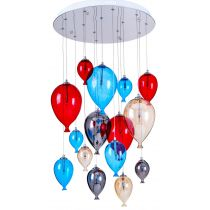 "Lampe Suspension Verre 15 Têtes ""Balloon"" 50cm Multicolore"
