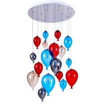 "Lampe Suspension Verre 18 Têtes ""Balloon"" 60cm Multicolore"