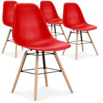 "Lot de 4 Chaises Scandinave ""Célia"" 82cm Rouge"