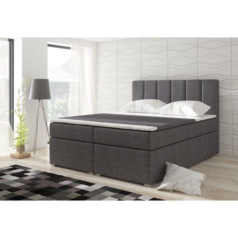 lit coffre adulte optima 180x200cm tissu gris fonce. Black Bedroom Furniture Sets. Home Design Ideas