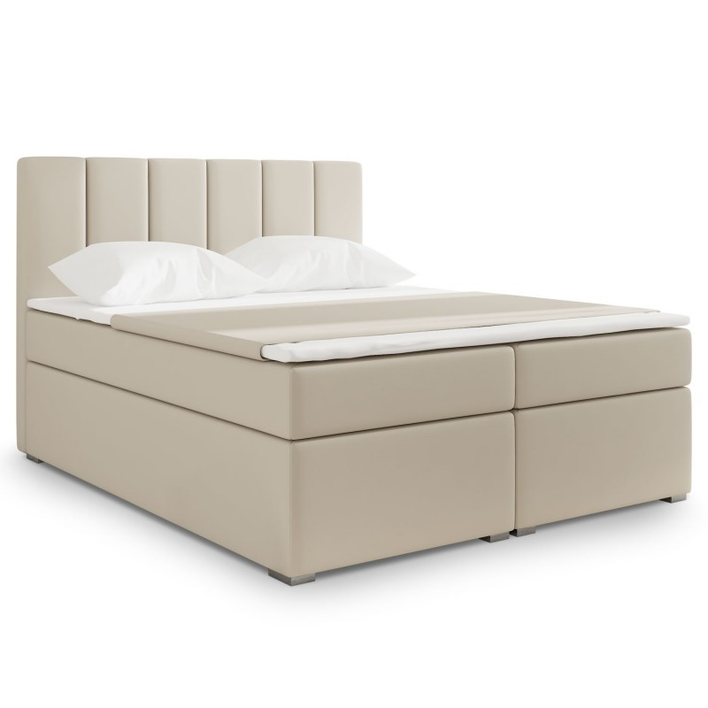 lit coffre adulte optima 180x200cm simili beige. Black Bedroom Furniture Sets. Home Design Ideas