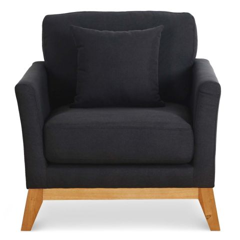 fauteuil scandinave comfy 95cm tissu noir. Black Bedroom Furniture Sets. Home Design Ideas