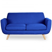 "Canapé 2 Places Scandinave ""Miramas"" 160cm Bleu Royal"