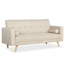 "Canapé Convertible 3 Places Scandinave ""Navya"" Beige"