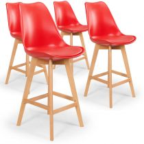 "Lot de 4 Tabourets de Bar ""Flaubert"" 112cm Rouge"