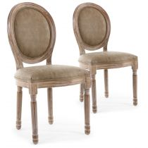"Lot de 2 Chaises Médaillon ""Quing"" Simili Taupe"