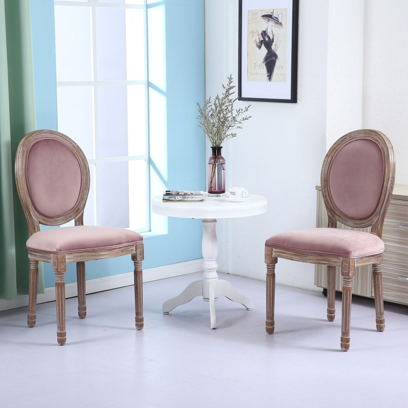 lot de 2 chaises m daillon quing velours rose. Black Bedroom Furniture Sets. Home Design Ideas