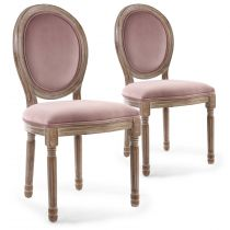 "Lot de 2 Chaises Médaillon ""Quing"" Velours Rose"