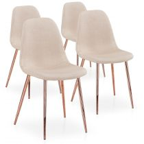 "Lot de 4 Chaises Scandinave ""Bonnie"" 87cm Beige & Or Rose"