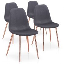 "Lot de 4 Chaises Scandinave ""Bonnie"" 87cm Gris & Or Rose"