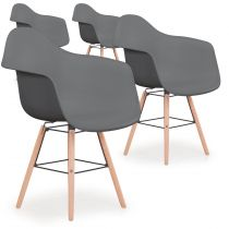 "Lot de 4 Chaises Scandinave ""Waly"" 79cm Gris"