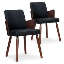 "Lot de 2 Chaises Scandinave ""Helen"" 75cm Noir Noisette"
