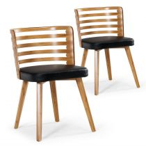 "Lot de 2 Chaises Scandinave ""Danna"" 73cm Simili Noir & Bois Naturel"