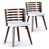 "Lot de 2 Chaises Scandinave ""Danna"" 73cm Simili Blanc & Bois Noisette"