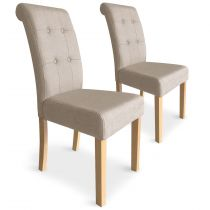 "Lot de 2 Chaises Design ""Oliver"" 99cm Beige"