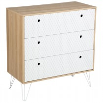 "Commode 3 Tiroirs Scandinave ""Effy"" 85cm Naturel"