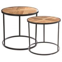 "Lot de 2 Tables Gigognes ""Café Mood"" 53cm Noir"