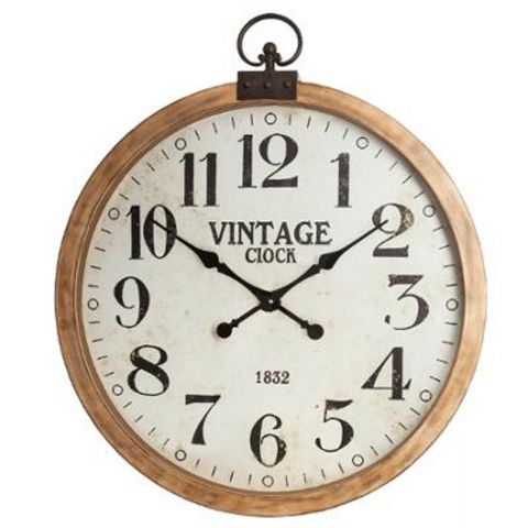 horloge murale vintage gouss 74cm naturel. Black Bedroom Furniture Sets. Home Design Ideas