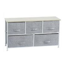 "Commode 5 Tiroirs "" Meadow"" 100cm Gris Clair"