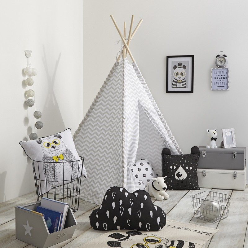 tipi d co enfant 160cm gris. Black Bedroom Furniture Sets. Home Design Ideas