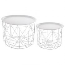 "Lot de 2 Tables d'Appoint en Métal ""Café"" 43cm Blanc"