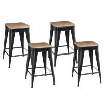 "Lot de 4 Tabourets de Bar ""Joris"" 60cm Noir"