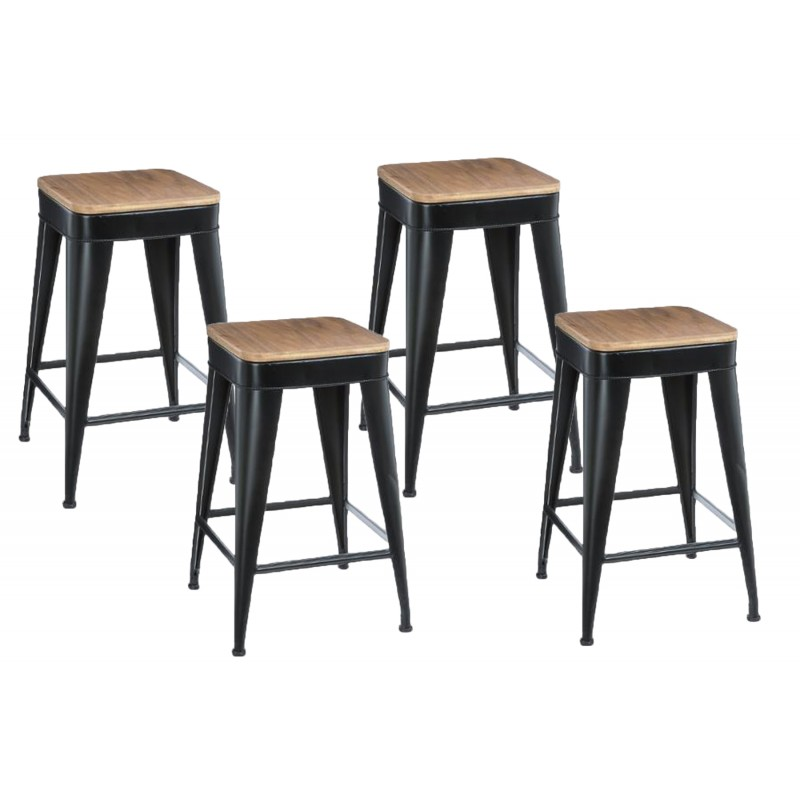 lot de 4 tabourets de bar joris 60cm noir. Black Bedroom Furniture Sets. Home Design Ideas