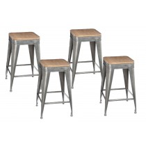 "Lot de 4 Tabourets de Bar ""Joris"" 60cm Gris"