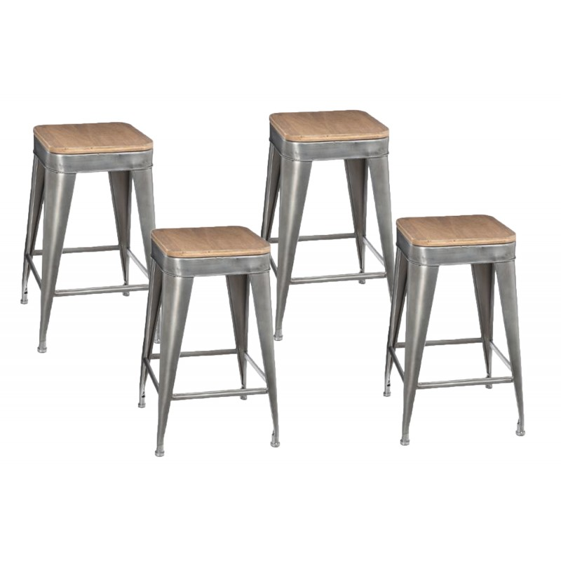 lot de 4 tabourets de bar joris 60cm gris. Black Bedroom Furniture Sets. Home Design Ideas